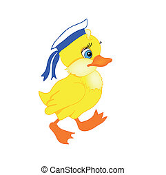 little duck cartoon - little duckling cartoon with isolation...