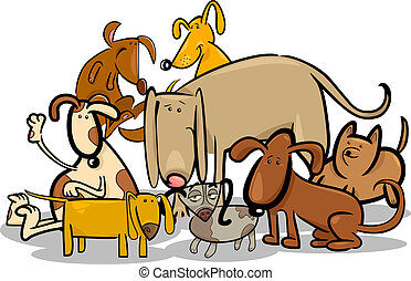 Cartoon Group of Funny Dogs - Cartoon Illustration of Funny...