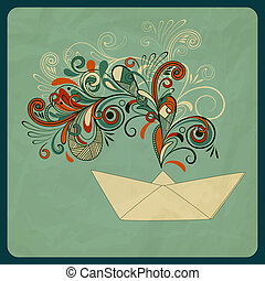 vector eco concept with a ship and floral pattern instead of smoke, crumpled paper texture,  eps 10, mesh