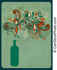 vector retro concept composition with stylized bottle of wine on grungy crumpled paper texture, eps 10