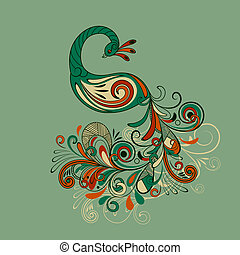 vector stylized peacock - vector stylized peacock with...