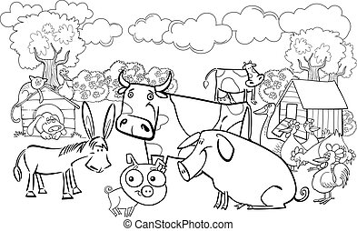 farm animals for coloring book - cartoon illustration of...