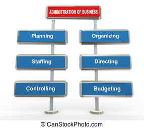 3d business administration - 3d render of key elements of...