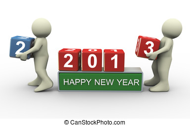 Happy new year 2013 - 3d render of man placing digit 3 cube...