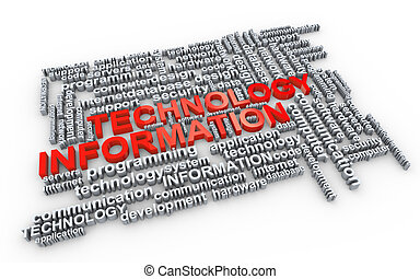 Word tags of information technology - Illustration of...