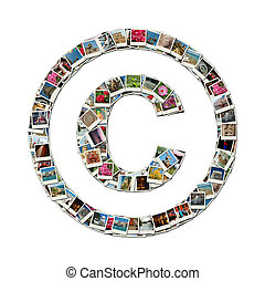 Copyright sign - conceptual collage - Copyright sign -...