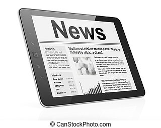 Digital news on tablet pc computer screen, 3d render