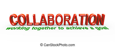 3d collaboration - 3d rendering of meaning of collaboration....