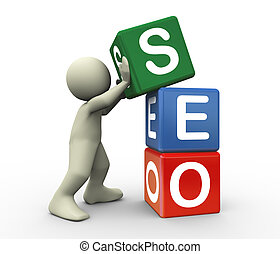 3d person and seo cube - 3d render of man placing seo...