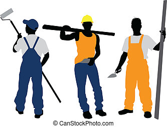 Three workers silhouettes - Vector illustration of a three...