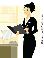 Young secretary in office - Vector illustration of a young...