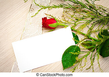 greeting card with red rose