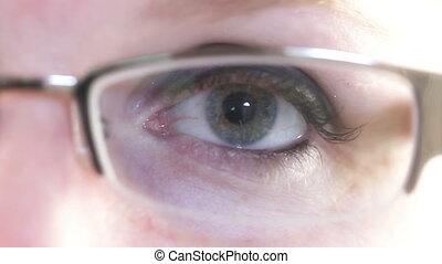 Woman Eye Glasses Closeup