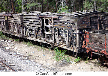 Antique Wooden Rail Cars - Several old wooden rail stock...