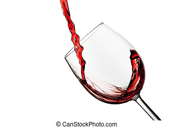 Tilted crystal wine glass with red wine
