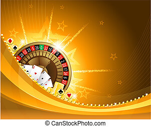 Gambling background with casino elements - Golden casino...