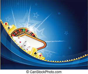 Abstract casino background with roulette and playing cards -...