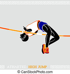 Athlete High Jumper - Greek art stylized athlete jumping...