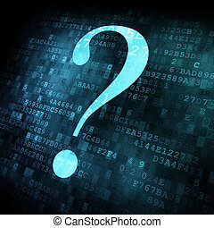 Symbol of question mark on digital screen