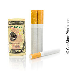 U.S. $ 10 and cigarettes on a white background