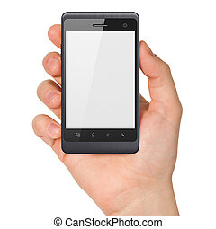 Hand holding smartphone on white background Generic mobile...