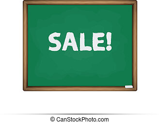 Sale written on a chalkboard