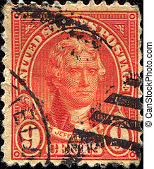 president Jefferson - USA - CIRCA 1923: A Stamp printed in...