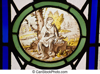 Saint Jerome wilderness stained gla - A Victorian stained...