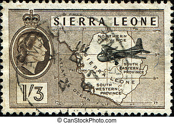 Airplane and Map - SIERRA LEONE - CIRCA 1956: A stamp...