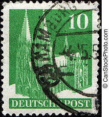 Cologne Cathedral - GERMANY - CIRCA 1948: A stamp printed in...