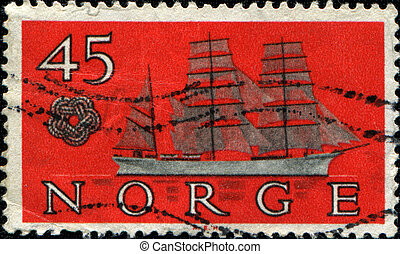 Skomvaer barque - NORWAY - CIRCA 1960: a stamp printed in...