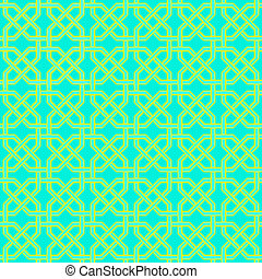 Seamless turkish pattern - Arabesque golden-blue seamless...