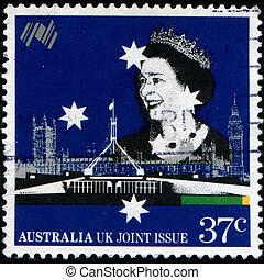 Queen Elizabeth II - AUSTRALIA - CIRCA 1988: A stamp printed...