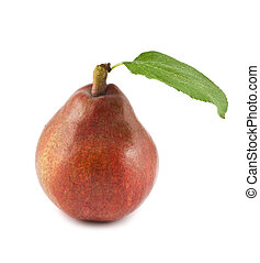 Red pear - Ripe red pear with green leaf isolated on white...