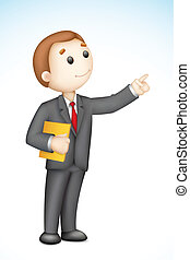 Business Man giving Presentation - illustration of 3d...
