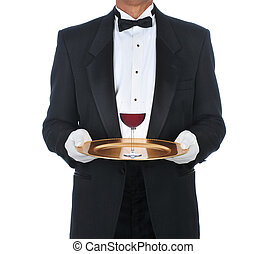 Waiter with Glass of Red Wine on Tray - Waiter Wearing...