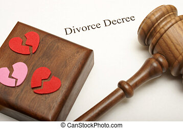 Divorce Papers - A gavel and broken hearts on top of divorce...