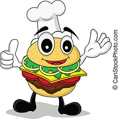funny cartoon chef burger - vector illustration of funny...