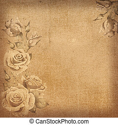 Vintage floral background - Old paper with image of rose