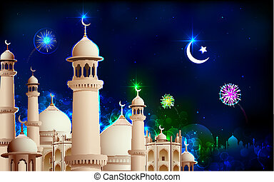 Eid Mubarak - illustration of Eid Mubarak greeting on mosque...