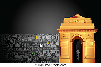 India Gate - illustration of India gate on abstract flag...