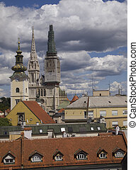 zagreb - Zagreb, Croatia - city view with St Stephen...