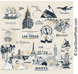 Vintage travel symbols - Set of vintage travel symbols