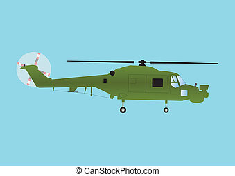 Military Helicopter - A Military Attack Helicopter in Olive...