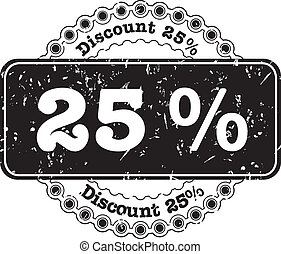 Stamp Discount Twenty Five Percent - vector illustration...