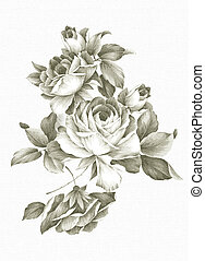 hand drawn - beautiful Rose bouquet design with Simple...