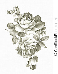 hand drawn 002 - hand drawn - beautiful Rose bouquet design...