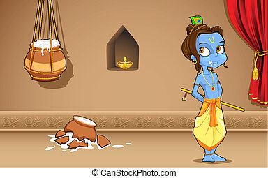 Krishana in Janmashtami - illustration of Krishana as Makhan...