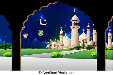 Eid Mubarak - illustration of Eid Mubarak greeting on mosque...