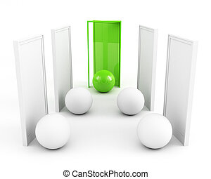 door to success. business success concept. green